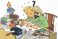 disegno di Hergé da Comment nait une bande dessinée, ed. Casterman, (c) Moulinsart s.a. - It's a hard work to live as a comic artist, as you can see in this old panel by Hergé...