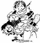 autocaricatura di Rudolph Dirks coi suoi classici personaggi