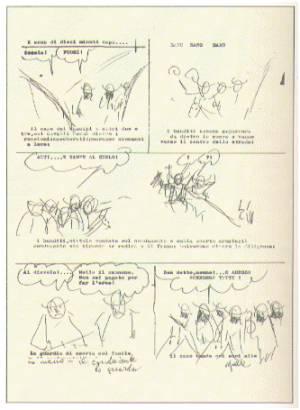 una pagina di sceneggiatura di Gianluigi Bonelli...